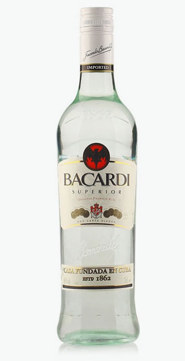 Bacardi white rum image for unsobered listicle on nutritional facts about alcohol