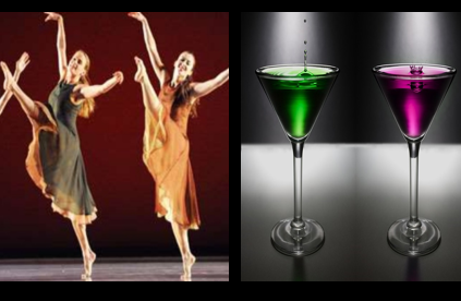 Cocktails and Contemporary dance image for unsobered listicle on dance forms and alcohol