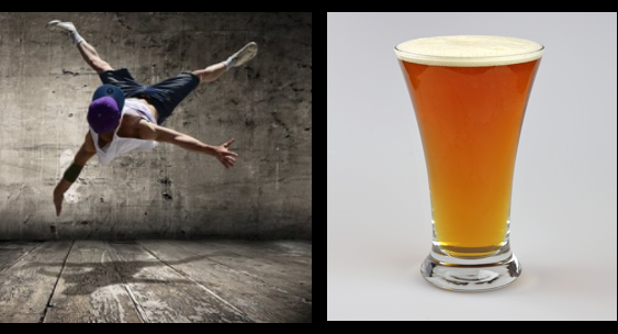 Hip hop and craft beer image for unsobered listicle on dance forms and alcohol